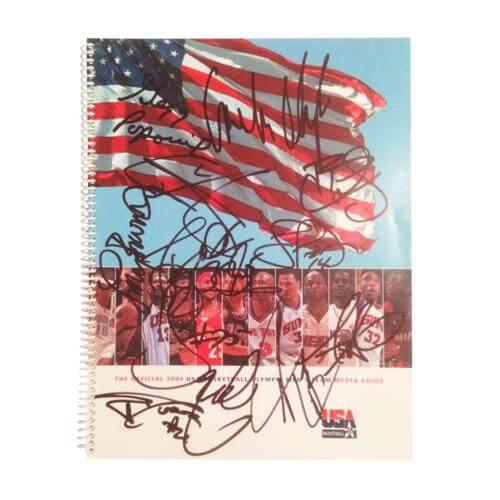 2004 USA Mens Olympic Basketball Team Autographed Media Guide - LeBron James , Wade - 12 Signatures