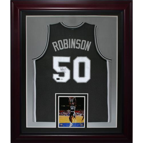 David Robinson Autographed San Antonio Spurs (Black #50) Deluxe Framed Jersey - Robinson Holo