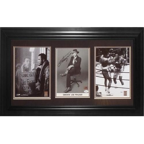 Joe Frazier Autographed Boxing (with Muhammad Ali) Deluxe Framed Triple Piece - JSA
