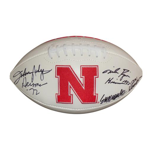Johnny Rodgers , Mike Rozier , Eric Crouch Autographed Nebraska Huskers Logo Football w/ Heisman Inscr