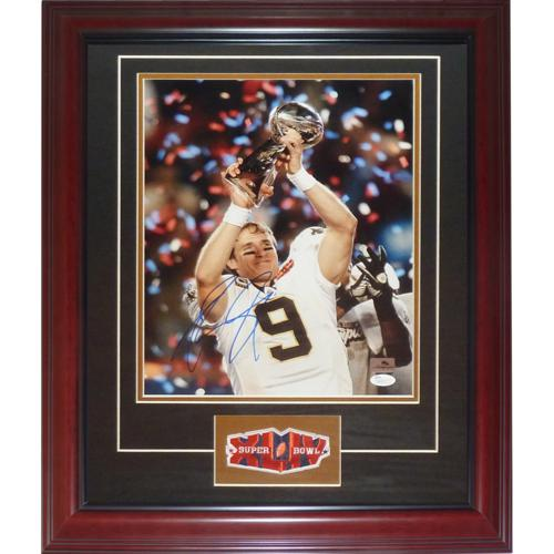 Drew Brees Autographed New Orleans Saints (SB Trophy) Deluxe Framed 11x14 Photo with SB Patch - JSA
