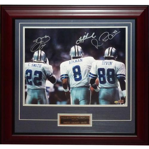 Dallas Cowboys Triplets (Troy Aikman , Michael Irvin , Emmitt Smith) Autographed Dallas Cowboys (Back Shot) Deluxe Framed 16x20 Photo