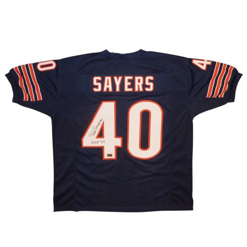 "Gale Sayers Autographed Chicago Bears (Blue #40) Jersey w/ ""HOF 77"""