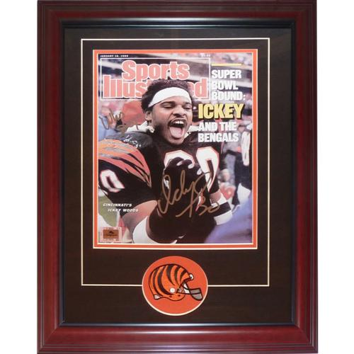 """Ickey Woods Autographed Cincinnati Bengals (Sports Illustrated) Deluxe Framed 11×14 Print w/ """"Who Dey"""""""