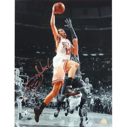 Joakim Noah Autographed Chicago Bulls (Spotlight Dunk vs Celtics) 16x20 Photo