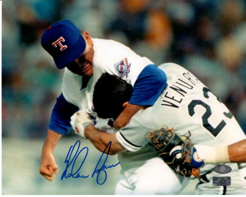 Nolan Ryan Autographed Texas Rangers (Punching Ventura) 8x10 Photo