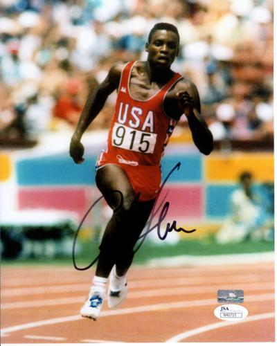 Carl Lewis Autographed Olympics Track 8x10 Photo - JSA