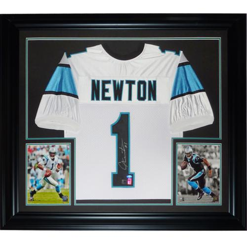 Cameron Newton Autographed Carolina Panthers (White #1) Deluxe Framed Jersey- Newton Holo