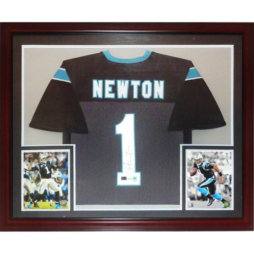 Cameron Newton Autographed Carolina Panthers (Black #1) Deluxe Framed Jersey- Newton Holo