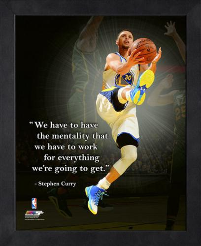 "Stephen Curry Golden State Warriors (White Jersey Layup) Framed 11x14 ""Pro Quote"" #2"