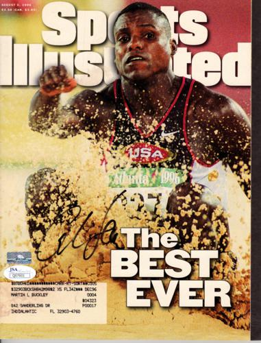 Carl Lewis Autographed Olympics Track (The Best Ever 8-5-96) Sports Illustrated Magazine - JSA