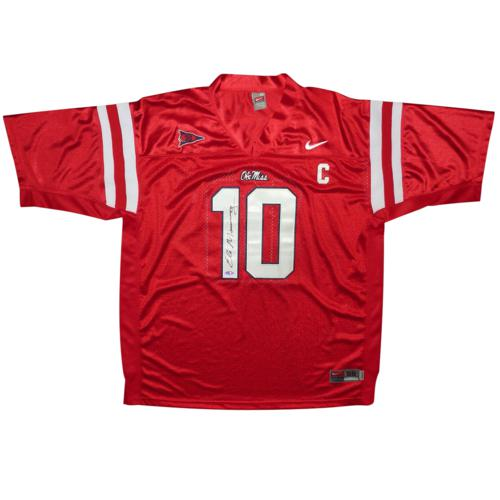 Eli Manning Autographed Ole Miss Rebels (Red #10) Nike Jersey - Steiner