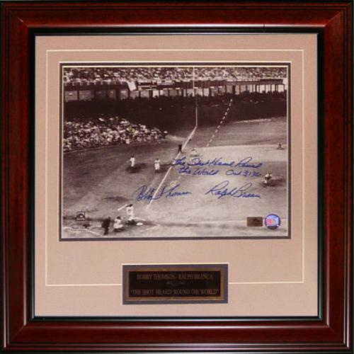 "Ralph Branca and Bobby Thomson Dual Autographed ""Shot"" (Horizontal Dotted Line) Deluxe Framed 11x14 Photo w/ Inscription , Date"