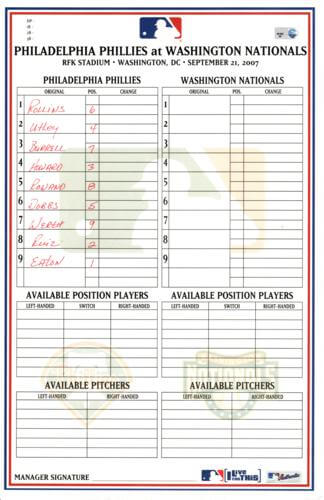 Philadelphia Phillies Game-Used (September 21, 2007 - Eaton Pitching) Locker Room Lineup Card