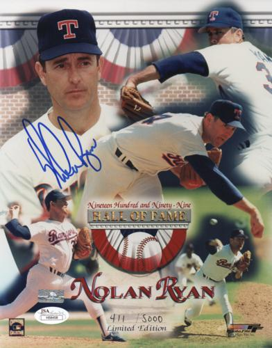 Nolan Ryan Autographed Texas Rangers (Hall of Fame Collage) 8x10 Photo