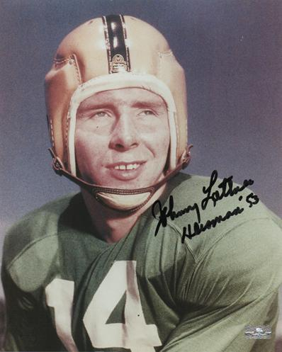 "Johnny Lattner Autographed Notre Dame Fighting Irish (Color) 8x10 Photo w/ ""Heisman 53"""