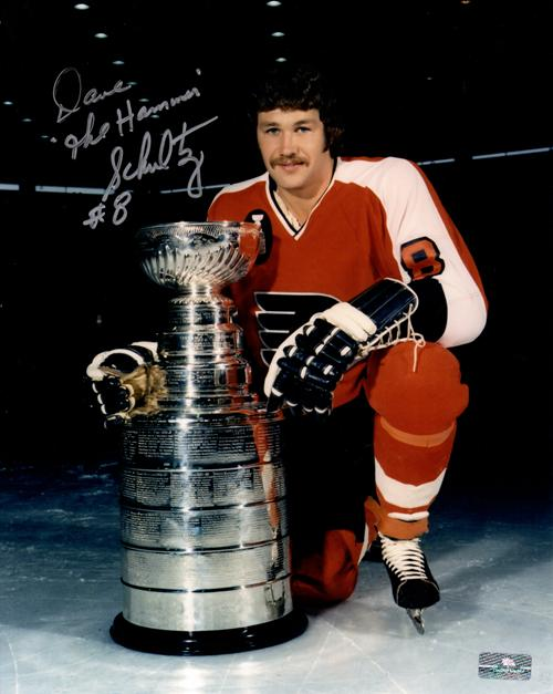 "Dave Schultz Autographed Philadelphia Flyers 8x10 Photo w/ ""The Hammer"""