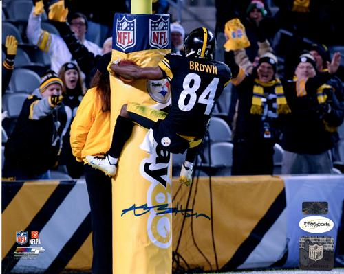 Antonio Brown Autographed Pittsburgh Steelers (Goal Post Leap) 8x10 Photo - TSE