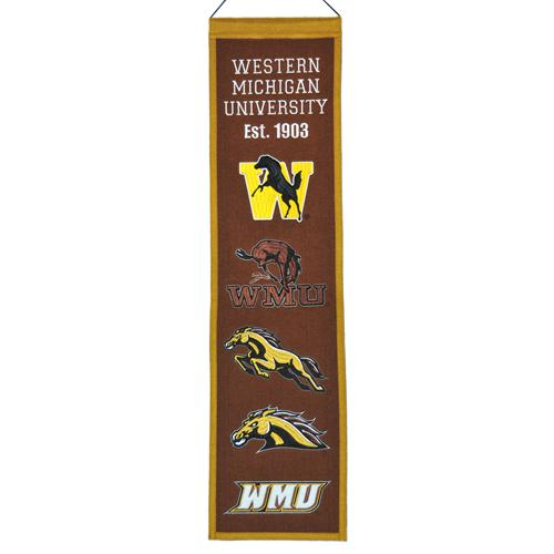 Western Michigan Broncos Logo Evolution Heritage Banner