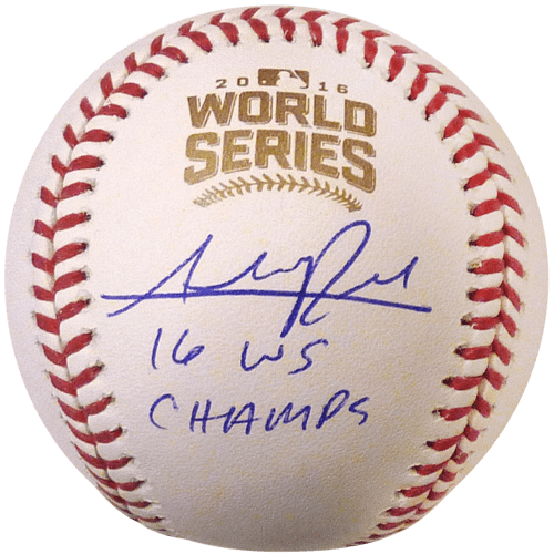 """Addison Russell Autographed 2016 World Series Logo MLB Baseball w/ """"16 WS Champs"""" – Chicago Cubs – JSA"""