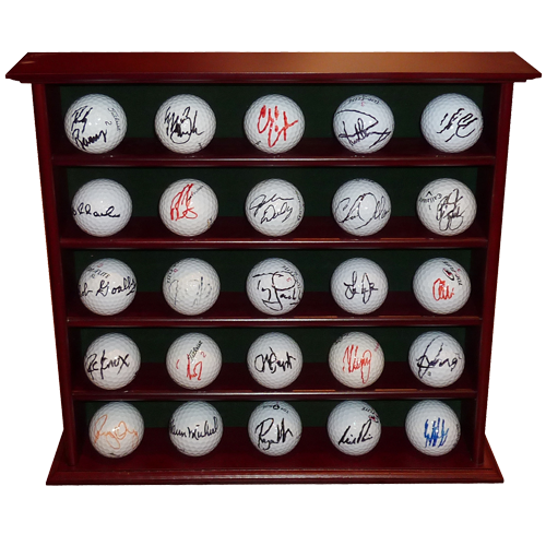 25 PGA Tour Players Autographed Golf Balls in Display Cabinet