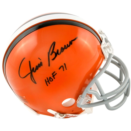"Jim Brown Autographed Cleveland Browns Mini Helmet w/ ""HOF 71"""