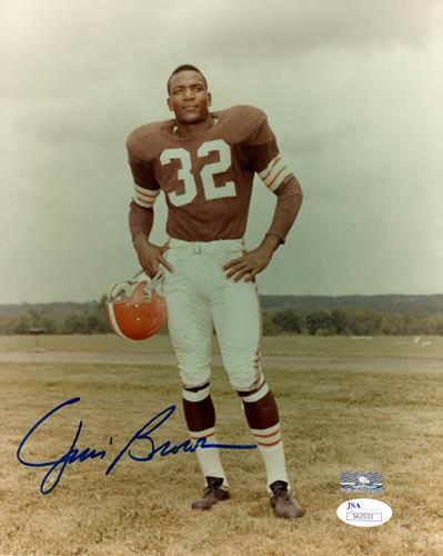 Jim Brown Autographed Cleveland Browns (Brown Jersey) 8x10 Photo