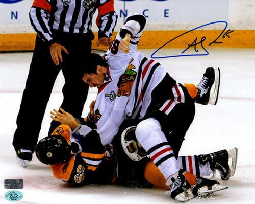 Andrew Shaw Autographed Chicago Blackhawks (Stanley Cup Fight) 8×10 Photo
