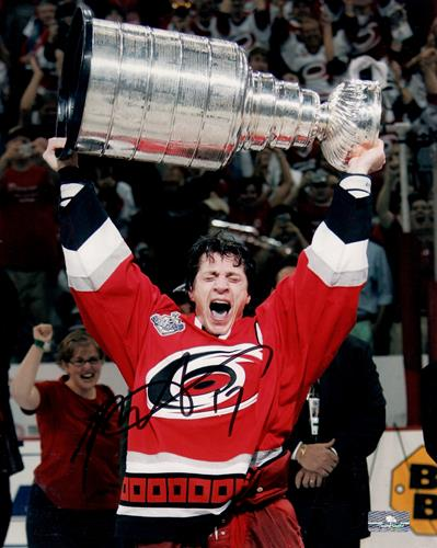 Rod Brind'amour Autographed Carolina Hurricanes (Stanley Cup Trophy) 8×10 Photo