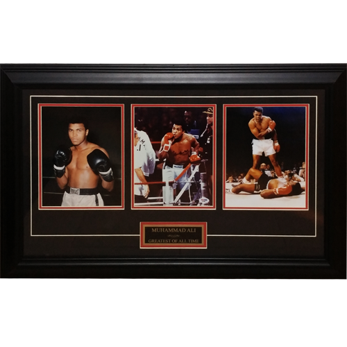 Muhammad Ali Autographed Boxing Deluxe Framed Triple 8x10 Piece - PSADNA
