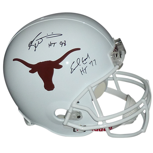 """Earl Campbell And Ricky Williams Autographed Texas Longhorns Deluxe Full-Size Replica Helmet w/ """"HT 77"""", """"HT 98"""" – JSA"""