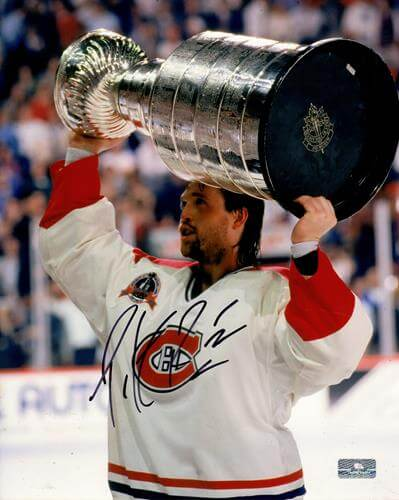 Patrick Roy Autographed Montreal Canadiens (Stanley Cup Trophy) 8×10 Photo – JSA