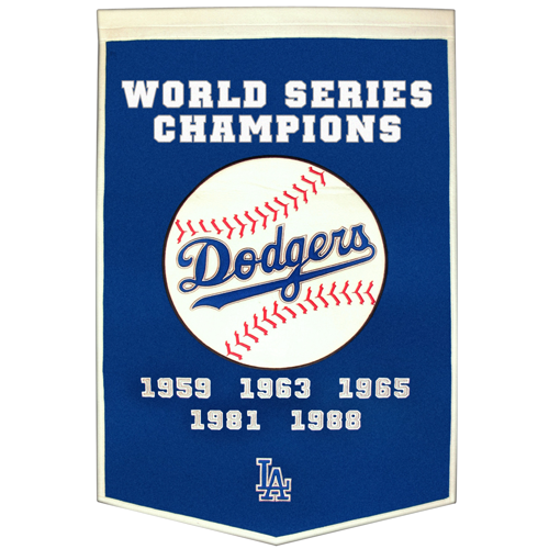 Los Angeles Dodgers World Series Championship Dynasty Banner – with hanging rod