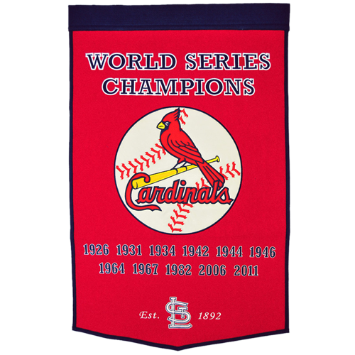 St. Louis Cardinals World Series Championship Dynasty Banner – with hanging rod