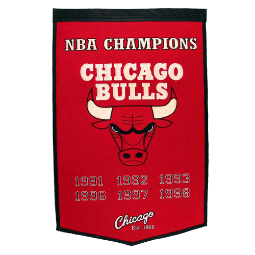 Chicago Bulls NBA Finals Championship Dynasty Banner – with hanging rod