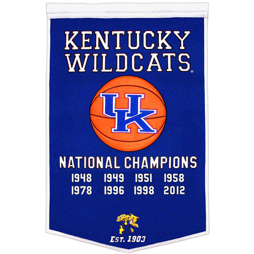 Kentucky Wildcats Basketball Championship Dynasty Banner – with hanging rod
