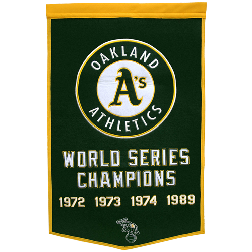 Oakland A's World Series Championship Dynasty Banner – with hanging rod