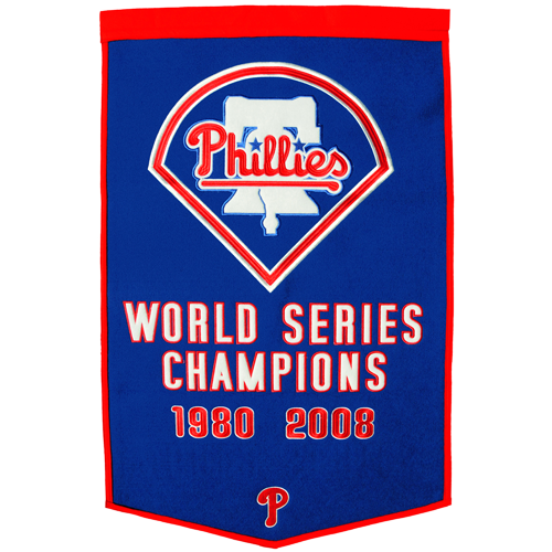 Philadelphia Phillies World Series Championship Dynasty Banner – with hanging rod