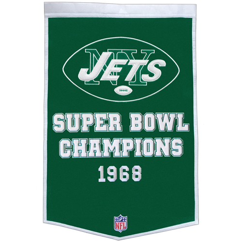 New York Jets Super Bowl Championship Dynasty Banner – with hanging rod
