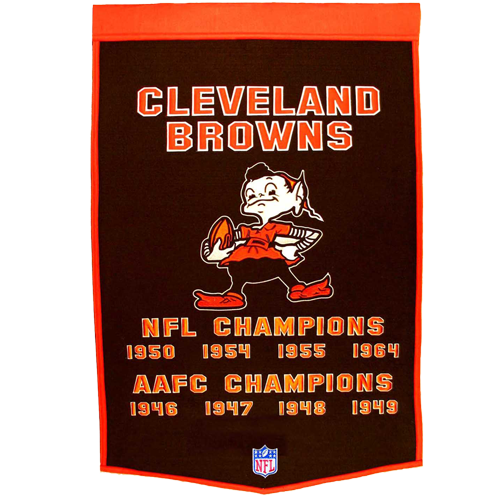 Cleveland Browns Super Bowl Championship Dynasty Banner – with hanging rod