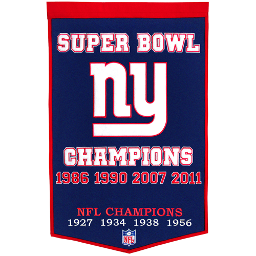 New York Giants Super Bowl Championship Dynasty Banner – with hanging rod