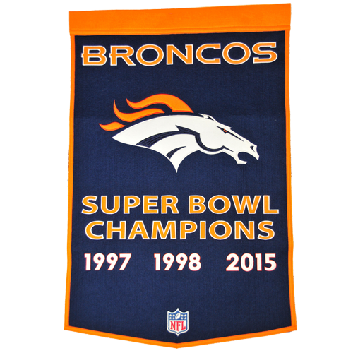 Denver Broncos Super Bowl Championship Dynasty Banner – with hanging rod
