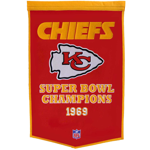 Kansas City Chiefs Super Bowl Championship Dynasty Banner – with hanging rod