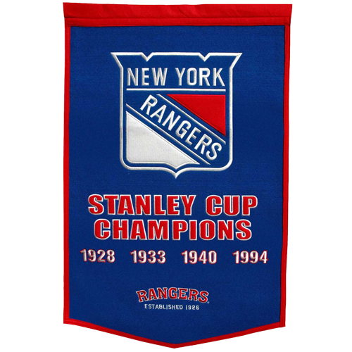 New York Rangers Stanley Cup Championship Dynasty Banner – with hanging rod