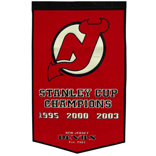 New Jersey Devils Stanley Cup Championship Dynasty Banner – with hanging rod
